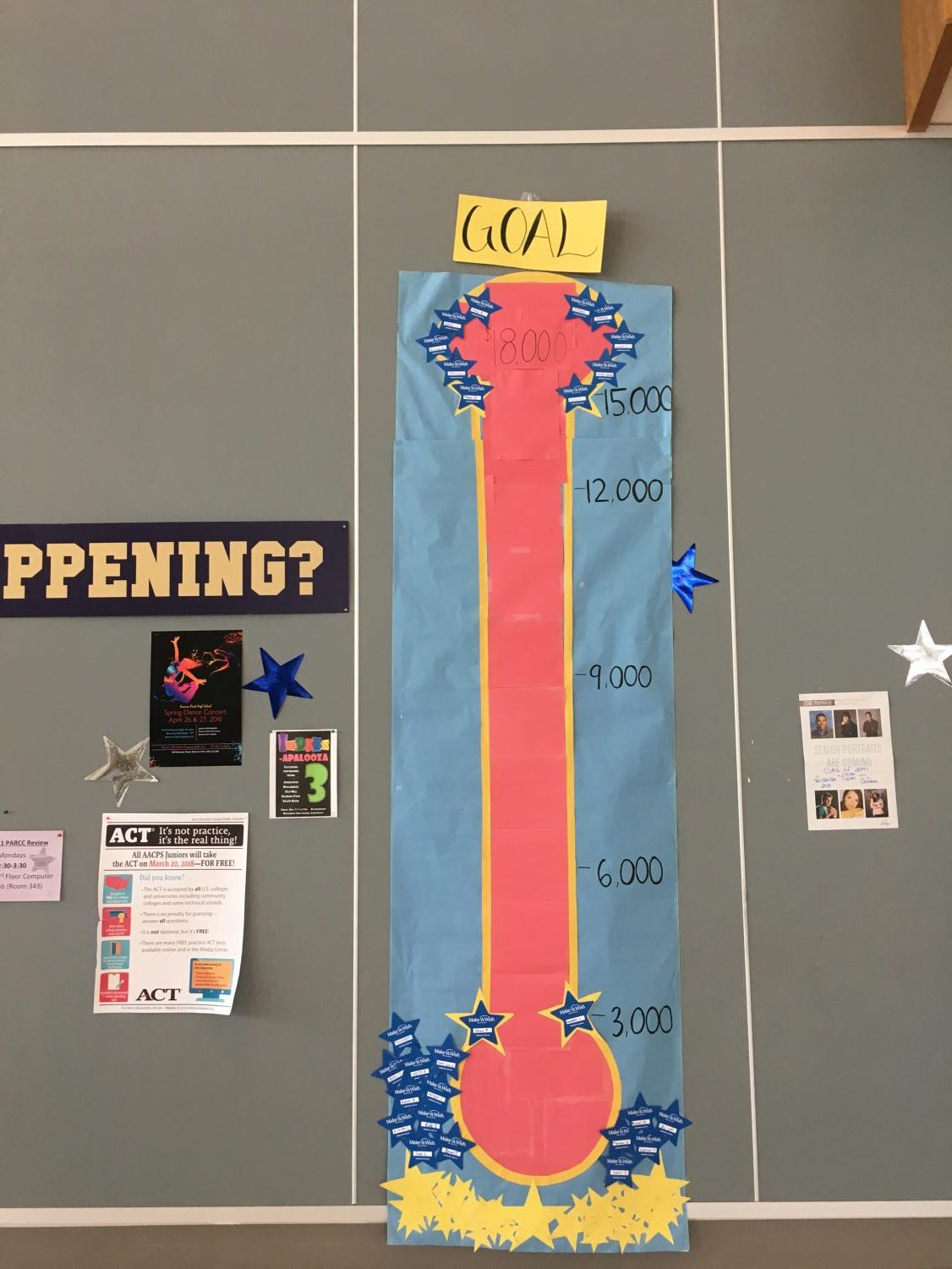 """Wish Week offers an opportunity for falcons to do something greater than themselves and really make an impact in their community. Donations were tracked on a large thermometer constructed by leadership students in order to display progress and motivate the entire school to give to Make-A-Wish. """"I'm really excited that we beat our goal by so much because that means we can help even more people. I think that keeping a public display of our progress really helped to get people involved because they are able to see how much of a difference they're making,"""" said Chloe Wright."""