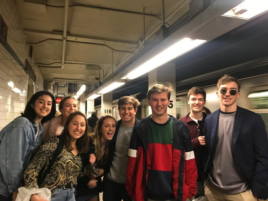 "The staff of the Talon waits for the subway to go to Columbia University. They rode the subway many times in the fashion of true New Yorkers.""It was really cool to feel like a true New Yorker"" junior Colin DeFeo said."