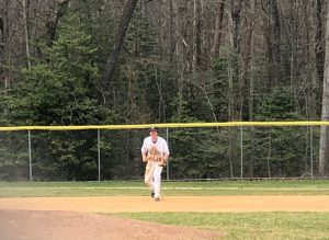 """Jackson Merrill gets ready in his stance to field a ground ball. He strives to improve his game in every aspect. """"The only way to improve is to get stronger, work hard and never stop trying to get better,"""" Merrill said."""