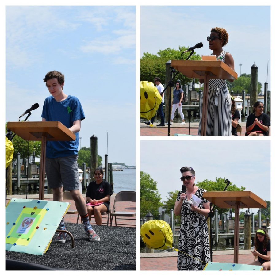 """Tyler Liberto, Niyah Jones, and Eve Horowitz advocating for mental health reform at the rally in Downtown Annapolis. Among many other speakers, they shared personal experiences of grief and recovery, garnering empathy and understanding from the audience who attended the rally. """"What we need to do is tell our kids from birth until their 85, you are the right thing, no matter who you are, what you are or what you say, you are the right thing; you are exactly who you need to be,"""" Hurowitz said."""