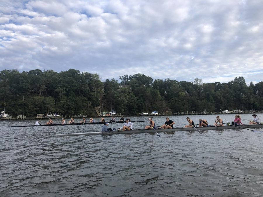 Both+the+women%E2%80%99s+varsity+and+junior+varsity+rowing+together+on+the+South+River.+The+teams+met+at+Camp+Woodlands+in+Annapolis+for+their+practice.+%E2%80%9CEverything+just+falls+away+when+I%E2%80%99m+on+the+water%2C%E2%80%9D+Maddy+Fangio+said.%0A