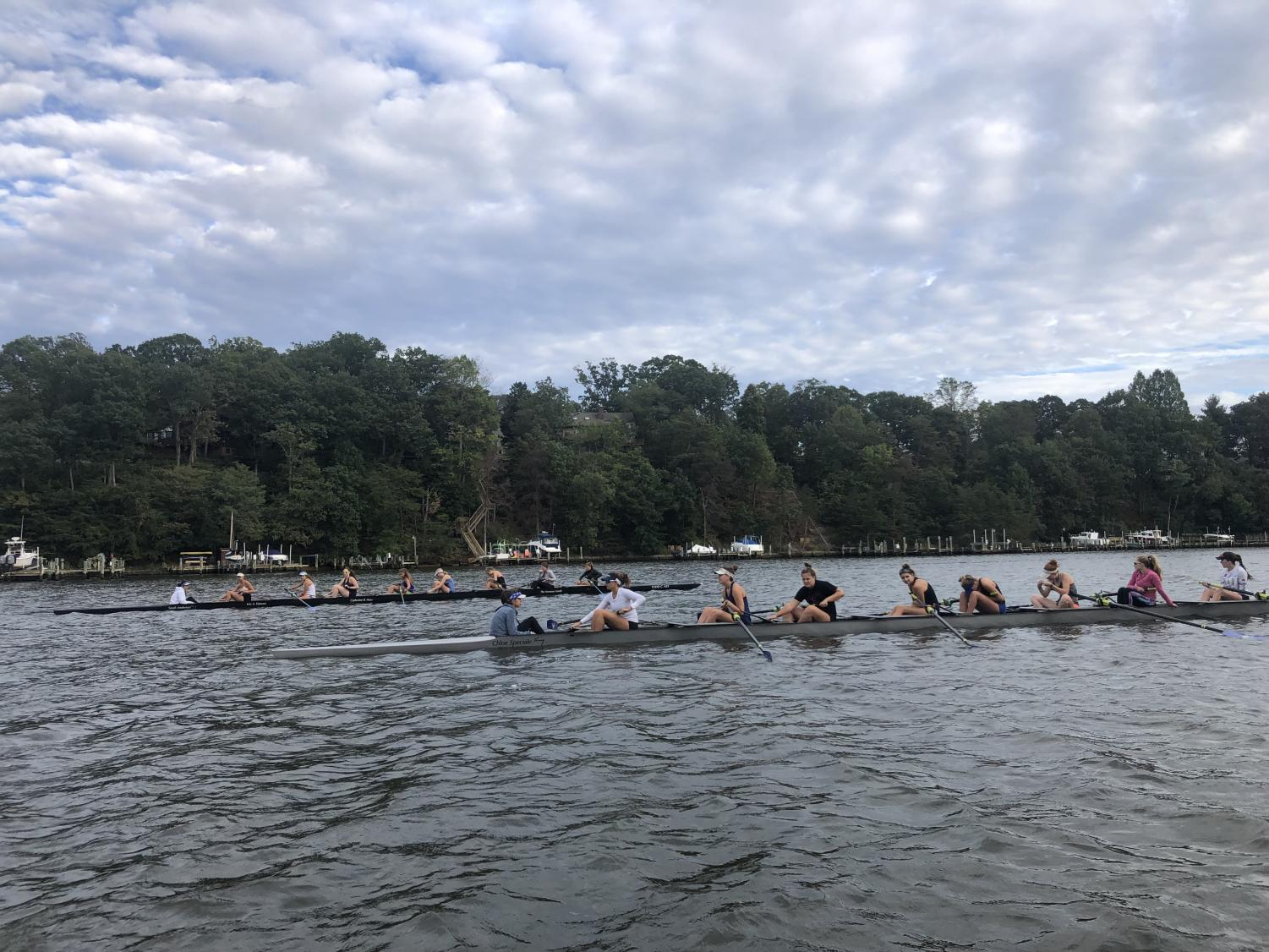 "Both the women's varsity and junior varsity rowing together on the South River. The teams met at Camp Woodlands in Annapolis for their practice. ""Everything just falls away when I'm on the water,"" Maddy Fangio said."