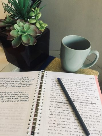 "Freshman Krista Gretz started journaling regularly two years ago. Gretz likes to journal whenever she feels stressed or overwhelmed. ""I can just write all my thoughts down and it clears my mind, making me feel better afterward,"" Gretz said."