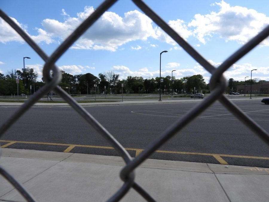 The student parking lot is almost empty most days because of virtual learning. School staff has started to return to the building and the parking lots are slowly filling up.