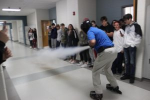 Last year, like every year before, Mr. Moore used visuals to explain scientific principles. One of his favorite experiments is the Newton's Law experiment with the fire extinguisher.