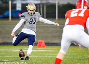 """Junior Trey Smack joined the SPHS varsity football team as their starting kicker his sophomore year. Since then, he has been nationally ranked for his outstanding performance on the field. """"If I got beat out by a girl then she's a good kicker and deserves it,"""" Smack said. """"Advice I would give to a girl who were to try out [would be that] you should be proud to be a Falcon and we will treat you like every other person."""""""