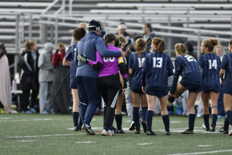 Girls soccer after a playoff game win last year.