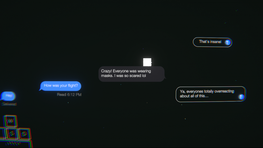 """Gameplay of the game """"Left On Read"""" showing off its minimalistic background tone. The background's emptiness gives off a feeling of loneliness and solitude from it's dark colors and lack of emotion."""