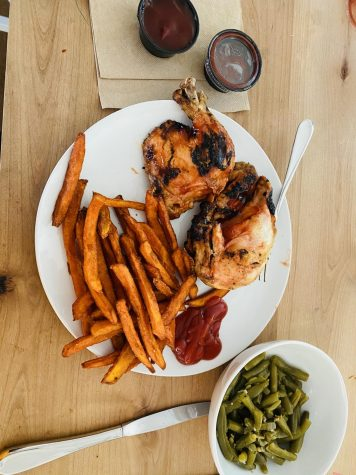A meal that consists of half of a barbecued chicken, sweet potato fries and green beans along with ketchup and extra barbecue sauce. Adam's Ribs is a family owned and operated restaurant that started in Edgewater, MD and grew to five more locations in Maryland. The food is high quality and is known for its BBQ entrees and delicious sides.