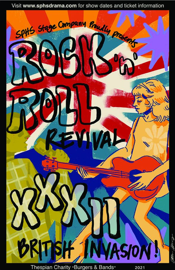 The artwork on the poster for Severna Park's Rock N Roll Revival XXXII: British Invasion was done by senior Ella Woodbury.