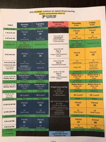 """The changed schedule has caused classes to be shorter, thus resulting in curriculums being the same way. The schedule has changed multiple times in the 2020-2021 school year, but the one above is the one currently in place. """"Given the decreased class time this year, the content did need to be shortened,"""" teacher Julie Lowman said."""