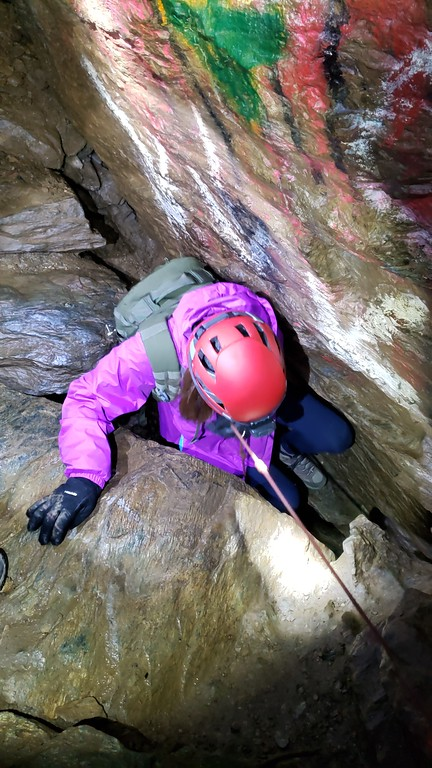 """Wind Cave: snapshot of me going down a rope that accesses the lower tunnels of Wind Cave.  This photo of why Fountain Cave is called """"Fountain Cave""""; these pools fill with water during heavy rains and eventually overflow giving it the look of a fountain."""
